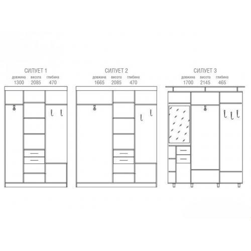 Прихожие «Світ меблів» Прихожая Силуэт 2 SV-782 мебель Киев