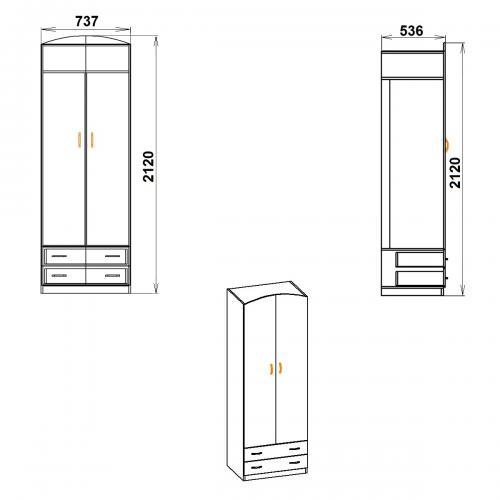 Шкафы распашные Шкаф 4 642-К мебель Киев
