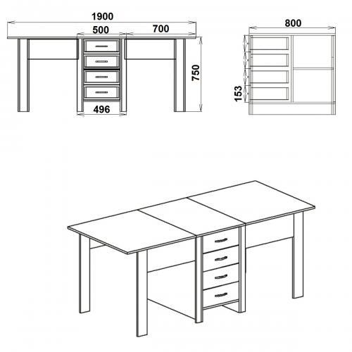 Столы книжка Стол-книжка 3 626-К мебель Киев