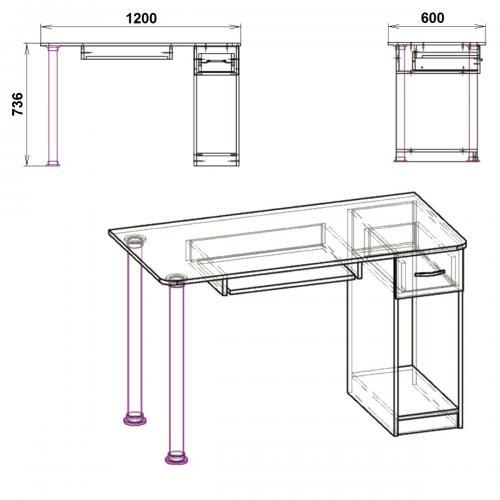 Компьютерные столы СКМ-10 435-К мебель Киев