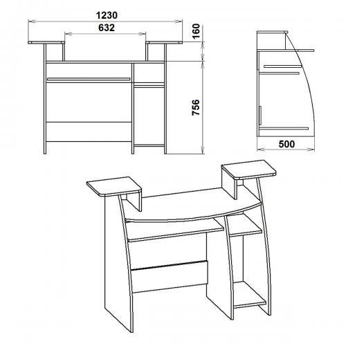 Компьютерные столы СКМ-4 429-К мебель Киев