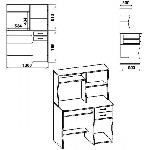 Компьютерные столы СКМ-8 433-К мебель Киев
