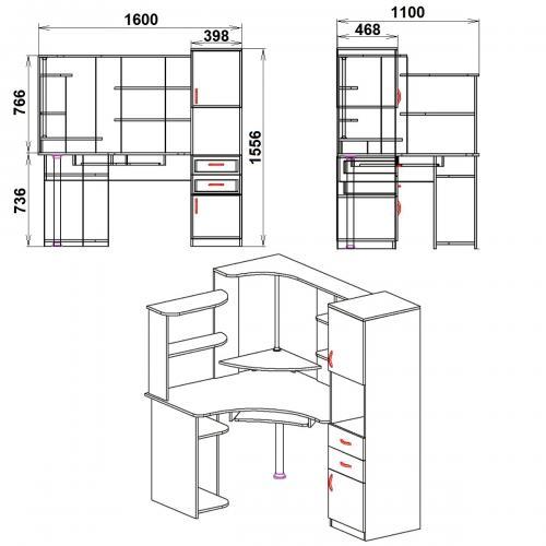 Компьютерные столы СУ-12 413-К мебель Киев