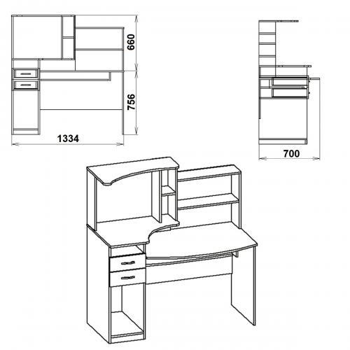 Компьютерные столы Комфорт-4 423-К мебель Киев