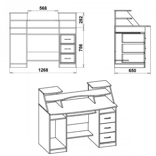 Компьютерные столы Комфорт-5 424-К мебель Киев